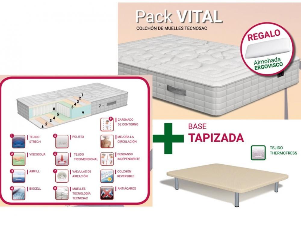 pack - colchón VITAL + base tapizada THERMOFRESS